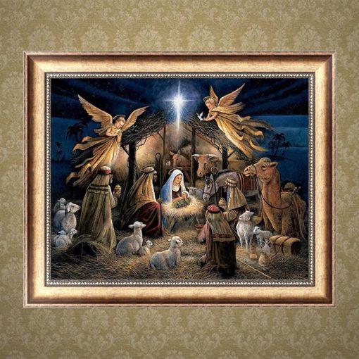 Kerst afbeelding diamond painting van kerststal