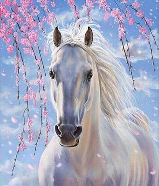 Eigen foto wit paard diamond painting