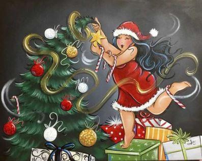 dikke dames met kerstboom