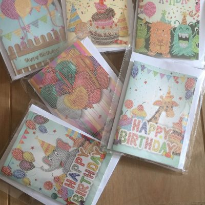 Happy birthday verjaardagskaarten diamond paintings card set of 6